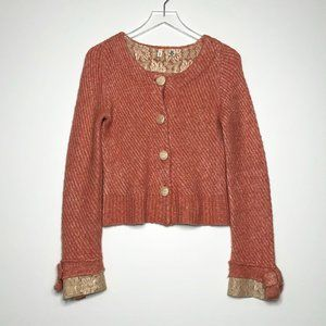 MOTH Lace Trimmed Cardigan Sweater Pink